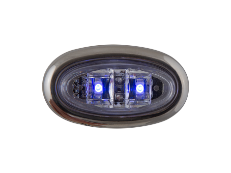 Mini Oval Clear Blue Clearance Marker Light with Stainless Bezel - Heavy Duty Lighting Products