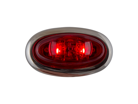 Mini Red Oval Clearance Marker Light with Stainless Bezel - Heavy Duty Lighting Products