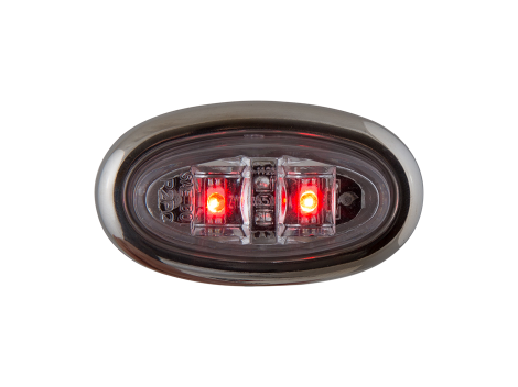 Mini Oval Clear Red Clearance Marker Light with Stainless Bezel - Heavy Duty Lighting Products