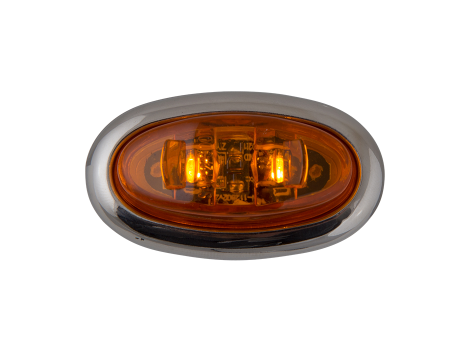 Mini Oval Amber Clearance Marker Light with Stainless Bezel - Heavy Duty Lighting Products