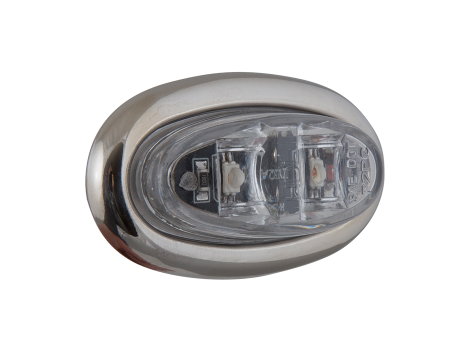 Mini Oval Clear Amber Clearance Marker Light with Stainless Bezel - Heavy Duty Lighting