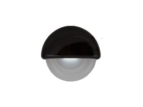 "2.25"" Half Round Interior Courtesy Light with Black Body - Heavy Duty Lighting"