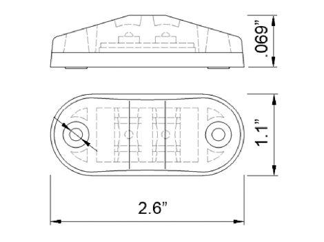"""2.5"""" Oval Clearance Marker Light - Heavy Duty Lighting"""