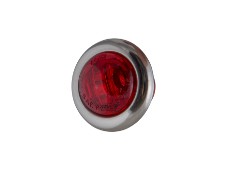 """3/4"""" Mini Round Red Clearance Marker Light with Stainless Bezel - Heavy Duty Lighting Products"""