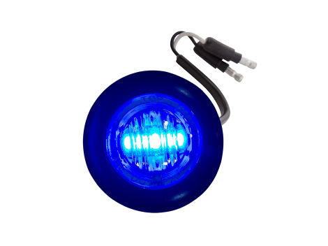 Mini Round Clear/Blue 2-Wire Clearance Marker Light - Heavy Duty Lighting Products