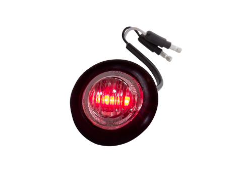 Mini Round Clear/Red 2-Wire Clearance Marker Light - Heavy Duty Lighting