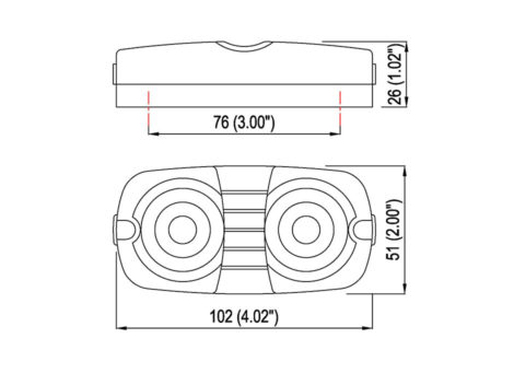"4"" Red Lens Double Bulls Eye Clearance Marker - Heavy Duty Lighting"