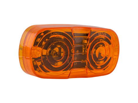 "4"" Amber w/Clear Lens Double Bulls Eye Clearance Marker - Heavy Duty Lighting"