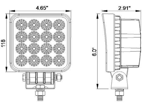 High Output Square Work Light - Heavy Duty Lighting