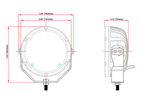 "Super High Output 7"" Round Spot Light - Heavy Duty Lighting"