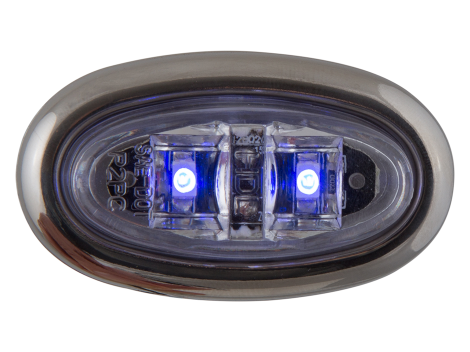 Mini Oval Clear Blue Clearance Marker Light with Stainless Bezel - Heavy Duty Lighting (en-US) Products