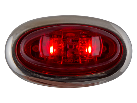 Mini Red Oval Clearance Marker Light with Stainless Bezel - Heavy Duty Lighting (en-US) Products