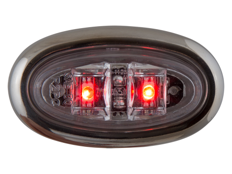 Mini Oval Clear Red Clearance Marker Light with Stainless Bezel - Heavy Duty Lighting (en-US) Products