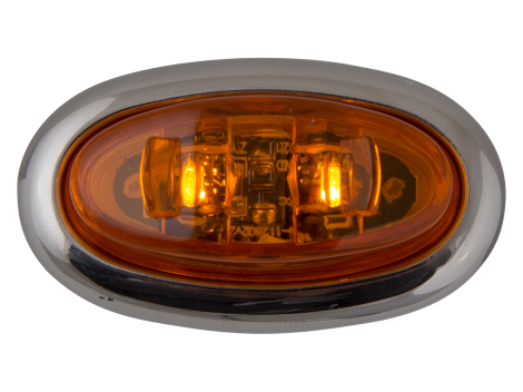 Mini Oval Amber Clearance Marker Light with Stainless Bezel - Heavy Duty Lighting (en-US)