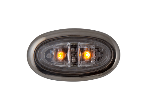 Mini Oval Clear Amber Clearance Marker Light with Stainless Bezel - Heavy Duty Lighting (en-US) Products