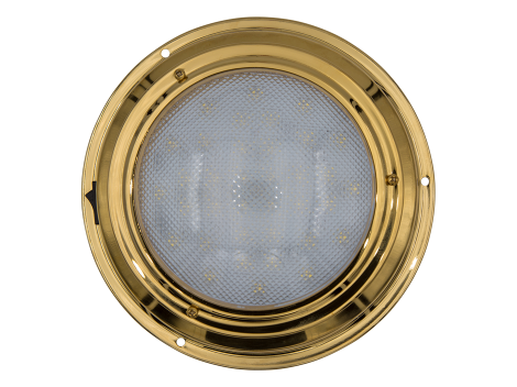 "7"" Round Brass Interior Dome Light with On/Off Switch - Heavy Duty Lighting (en-US) Products"