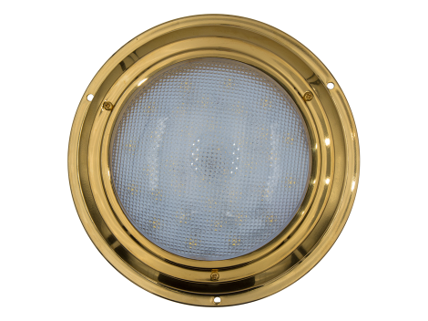 "7"" Round Brass Interior Dome Light with No Switch - Heavy Duty Lighting (en-US) Products"