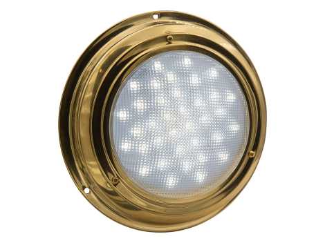 "7"" Round Brass Interior Dome Light with No Switch - Heavy Duty Lighting (en-US)"